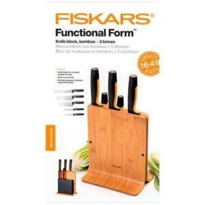 Набор кухонных ножей в бамбуковом блоке 5 шт. Fiskars Functional Form (1057552)